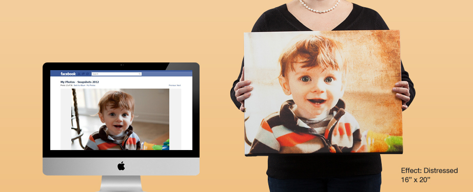 Facebook photo prints to canvas (distressed effect)
