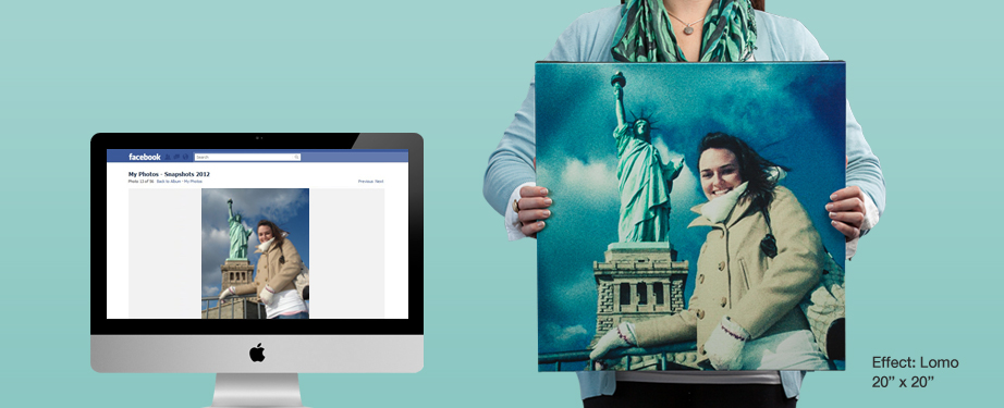 Facebook photo prints to canvas (lomo effect)