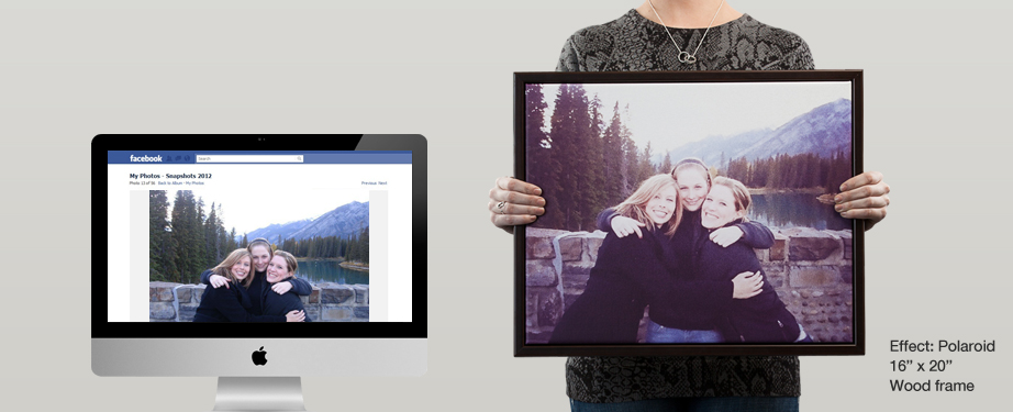 Facebook photo prints to canvas (polaroid effect)