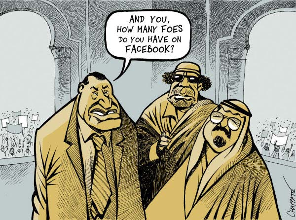 """How many foes"" Facebook Revolution in Egypt cartoon"