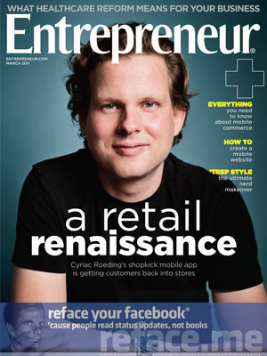 Entrepreneur Magazine March 2011 Facebook ad coupon code