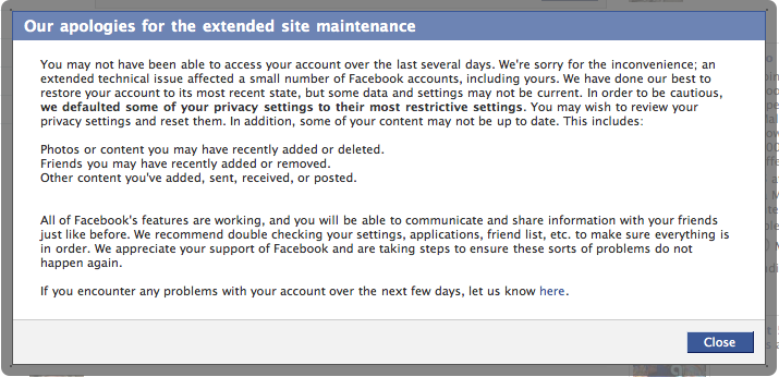 Facebook Extended Site Maintenance