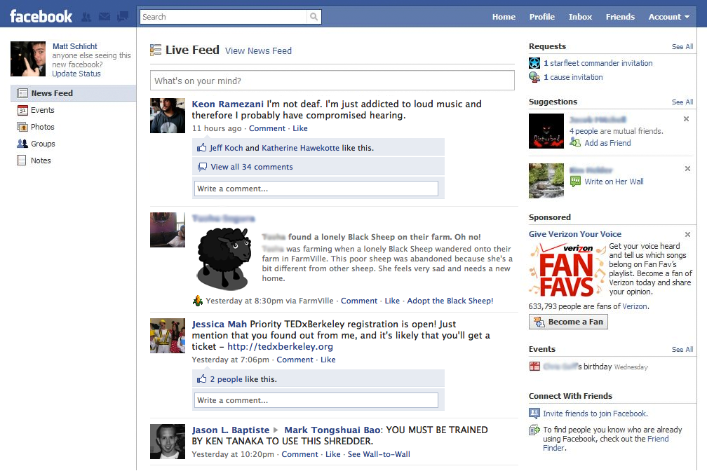 Preview: Upcoming Facebook homepage redesign screenshots