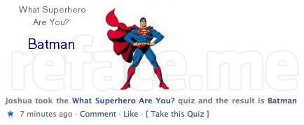Facebook quiz fail: BATMAN!