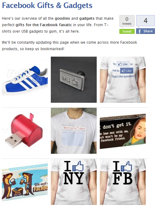 Facebook Gifts & Gadgets