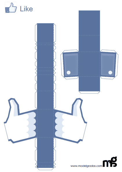 Facebook Like Button Papercraft