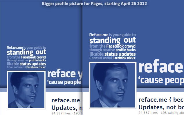 Facebook Pages Profile Picture: 160 x 160 pixels