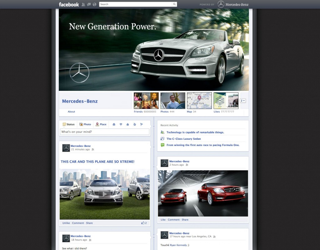Facebook Timeline for Mercedes Benz Page
