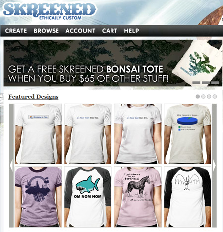 Our Facebook inspired t-shirts featured on Skreened