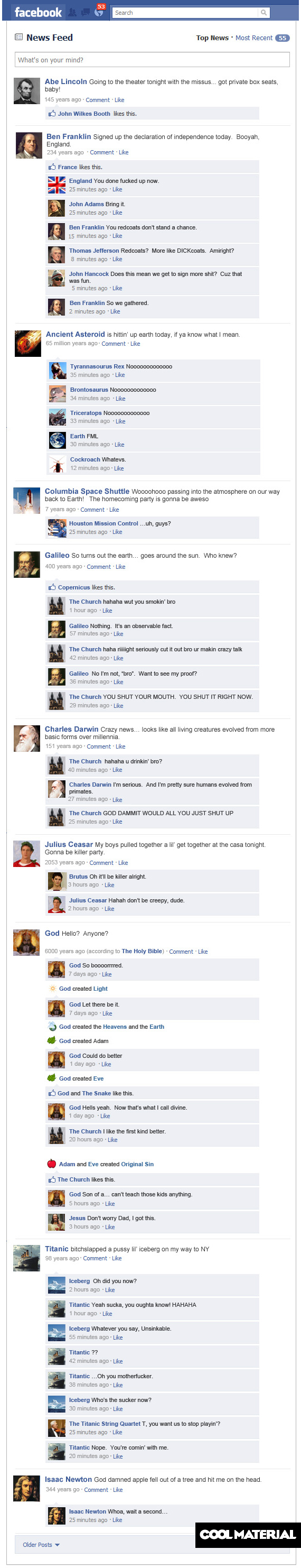 Historical Facebook Status Updates