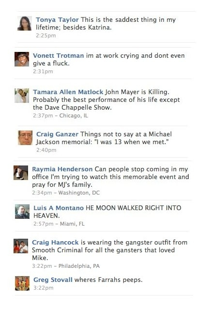 Best of the +500000 Facebook Status Updates posted during Michael Jackson's