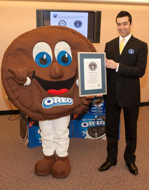 Oreo Cookie proudly showing Guinness World Record certificate