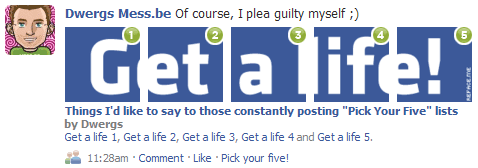 """Things I'd like to say to those constantly posting """"Pick Your Five"""" lists"""