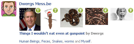 Pick your 5 things you wouldn't eat even at gunpoint