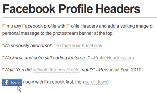 Facebook Profile Headers Login