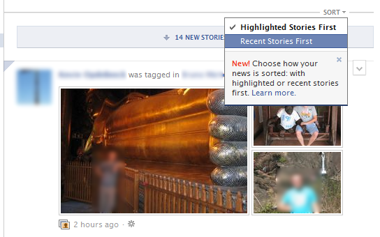Recent stories first in Facebook News Feed