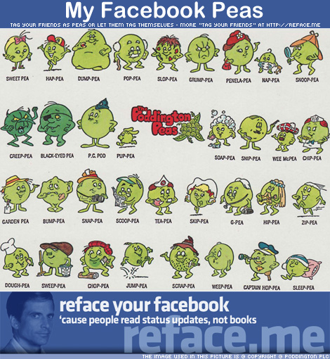 My Facebook Peas - Tag your friends as Poddington Peas
