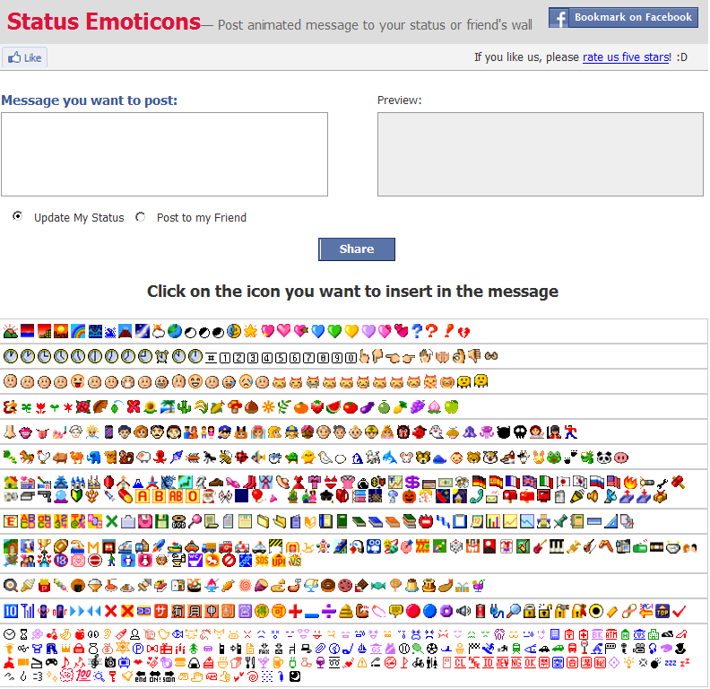Facebook app status emoticons