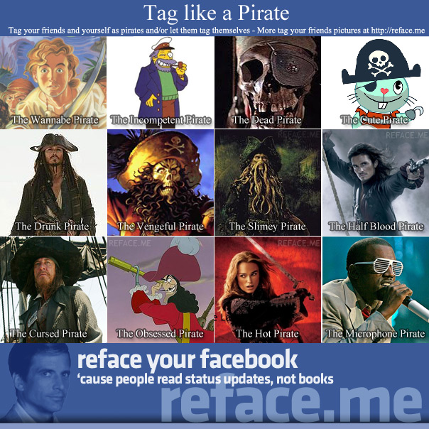 Tag your friends as pirates - Tag like a pirate