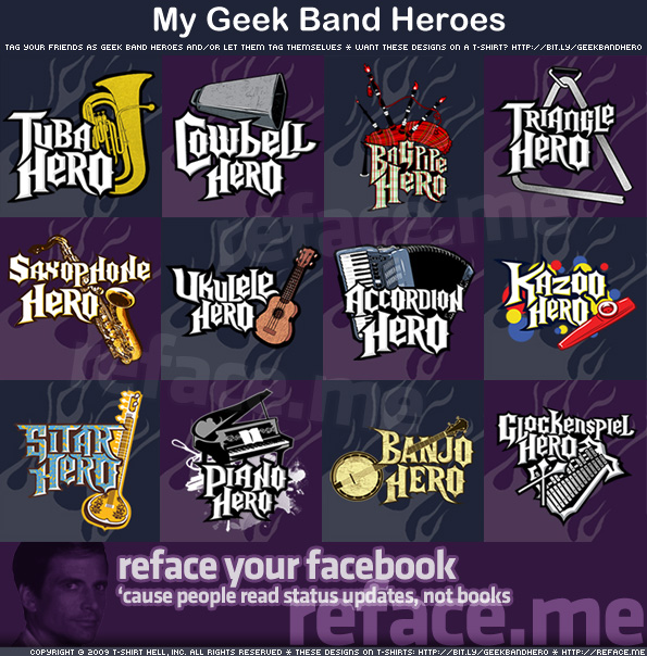 Tag your Facebook friends as Geek Band Heroes