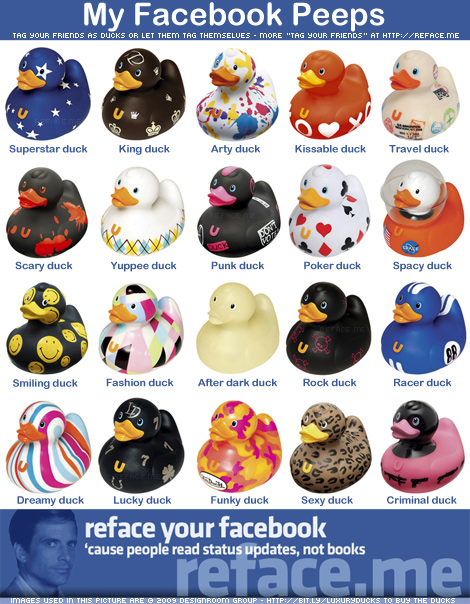 "to create our own ""tag your friends"" collage called ""My Facebook Peeps""."