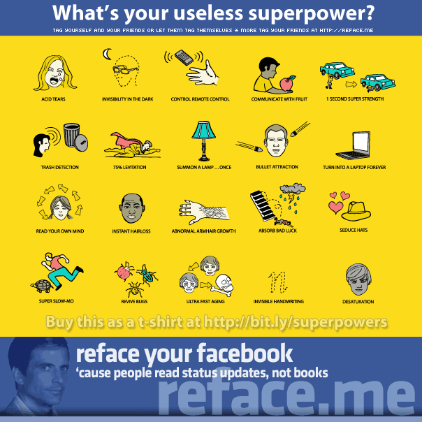 Tag your friends with useless superpowers