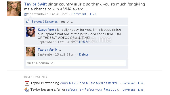 Taylor Swift versus Kanye West: Facebook Edition