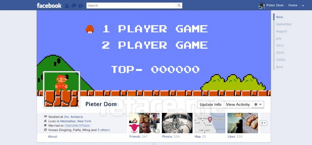 Super Mario Bros Facebook Timeline hack