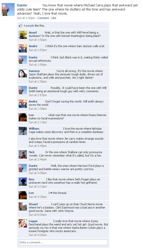 Typecasting Michael Cera Facebook Status Update