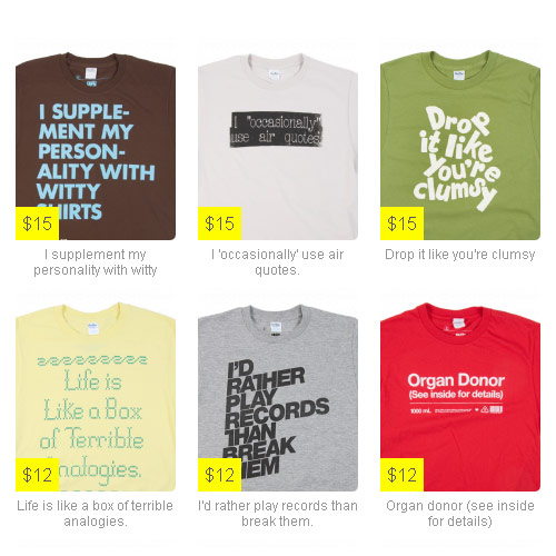 Type Tees T-shirts with Facebook Status Updates you can wear
