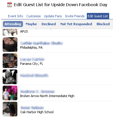 Upside Down Facebook Day Guest List