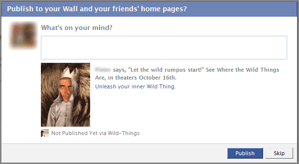 Where the Wild Things Are Facebook Application